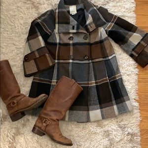 Brown Plaid Anthropologie coat by Elevenses.